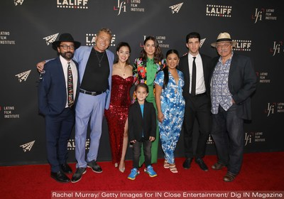 """(L-R) Producer Luis David Ortiz, Actor Steven Bauer, Director Lissette Feliciano, Actress Lorenza Izzo, Actor Lincoln Bonilla, Actress Chrissie Fit, Actor Bryan Craig and LALIFF Co-Founder Edward James Olmos attend the 2021 Los Angeles Latino International Film Festival Closing Night """"Women Is Losers"""" Premiere. - Photo by Rachel Murray/Getty Images for IN Close Entertainment/Dig IN Magazine"""
