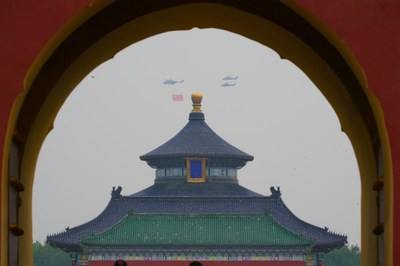 1 Helicopters carrying the Party flag fly over the Temple of Heaven in celebration of the centenary of the CPC in Beijing on July 1, 2021. [Photo by Su DongFor China Daily]