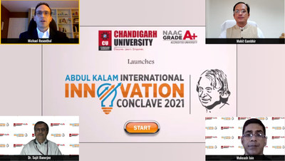 Michael Rosenthal, Director, US Embassy (North India) and Dr. Sujit Banerjee, Director, Department of Science & Technology addressing the virtual audience during the curtain-raiser ceremony of Dr. APJ Abdul Kalam International Innovation Conclave hosted by Chandigarh University