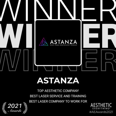 """Astanza wins """"Top Aesthetic Company"""", """"Best Laser Service and Training"""" and """"Best Laser Company to Work For"""" in the Aesthetic Everything® 2021 Aesthetic and Cosmetic Medicine Awards"""