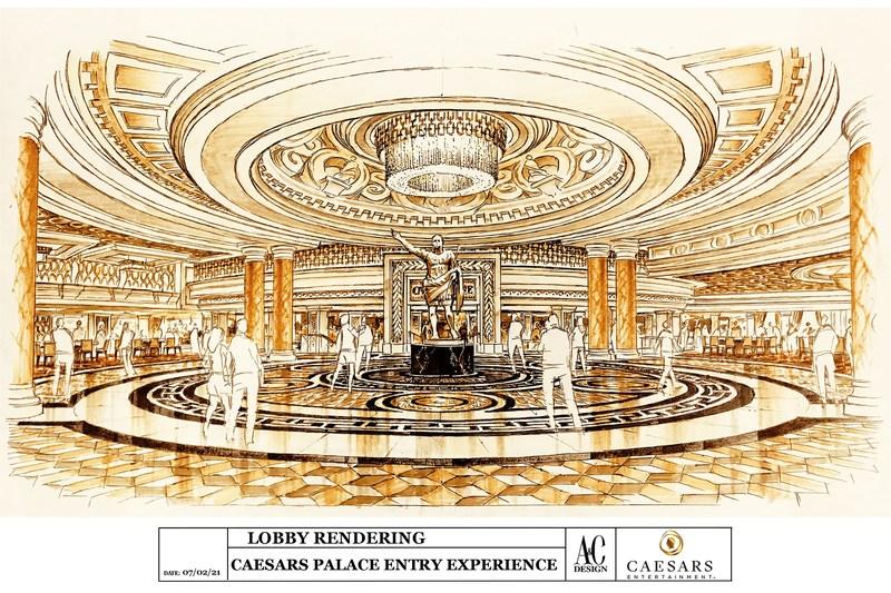 Caesars Palace Renovated Main Entrance Rendering – Entry View (Credit: Allard & Conversano Design)