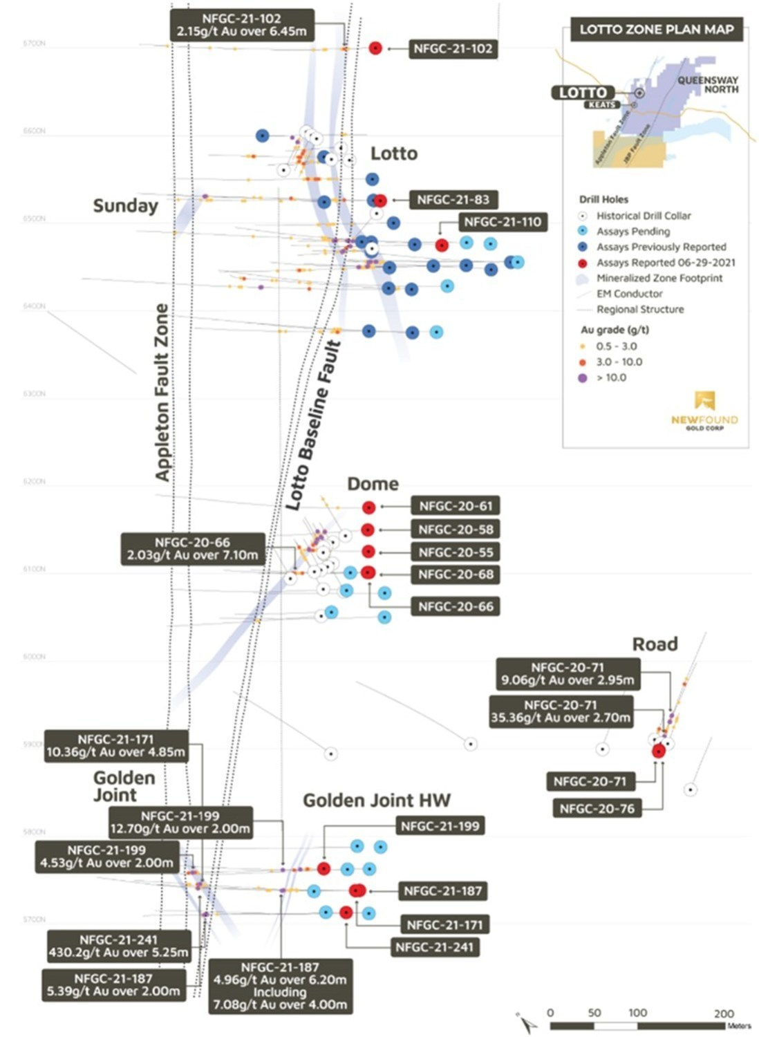Figure 5. Golden Joint to Lotto Corridor Plan Map (CNW Group/New Found Gold Corp.)