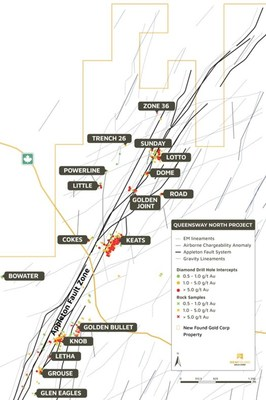 Figure 1. Appleton Fault Zone targets, Queensway North (CNW Group/New Found Gold Corp.)