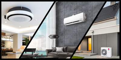 LG HVAC Product Line-up (From Left, Round Cassette, DUALCOOL with AirCare Complete System, Therma V)