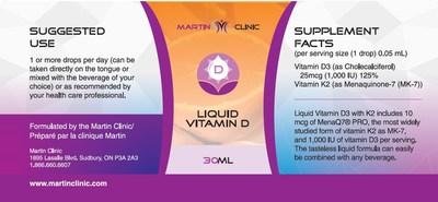 Étiquette de produit incorrecte - Vitamine D sous forme liquide Martin Clinic (NPN 80092359) (Groupe CNW/Santé Canada)