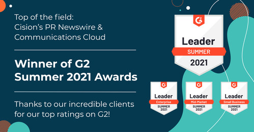 Cision's PR Newswire and Cision Communications Cloud named two top products by G2.