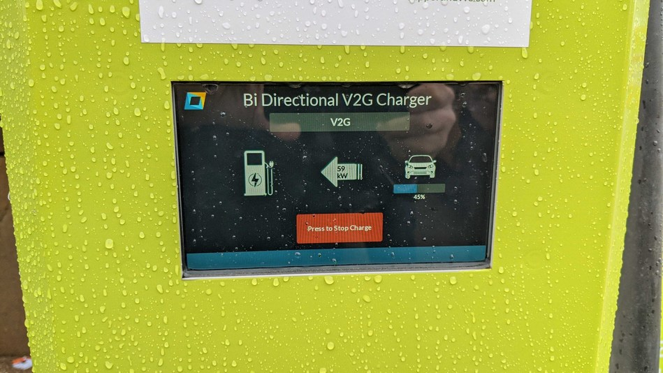 Nuvve's DC V2G charging station performing bidirectional charging