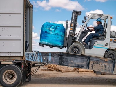 Rare Earth Carbonate processed by Energy Fuels at its White Mesa, Utah plant is loaded into a shipping container for transport to Neo Performance Materials' rare earth separations facility in Europe (Sillamae Estonia) (CNW Group/Energy Fuels Inc.)