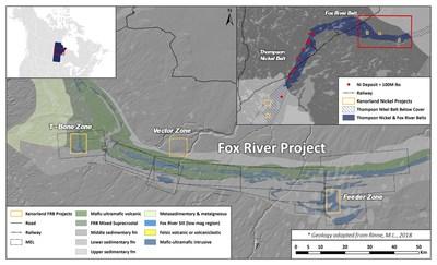 Figure 1. Map of the Fox River Belt geology highlighting Kenorland's Fox River Belt project (CNW Group/Kenorland Minerals Ltd.)