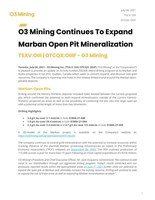 Download Press Release (CNW Group/O3 Mining Inc.)