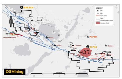 Figure 3: Survol des propriétés Marban et Alpha (Groupe CNW/O3 Mining Inc.)