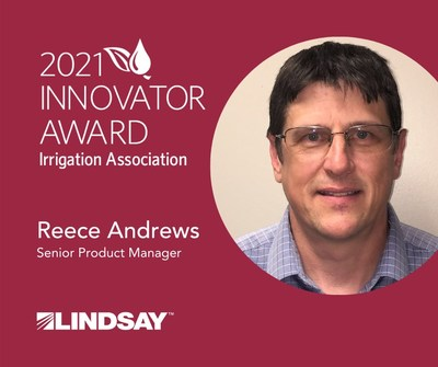 Reece Andrews, Lindsay's senior product manager for FieldNET™ and Zimmatic™ Controls, was named Innovator of the Year by the Irrigation Association.