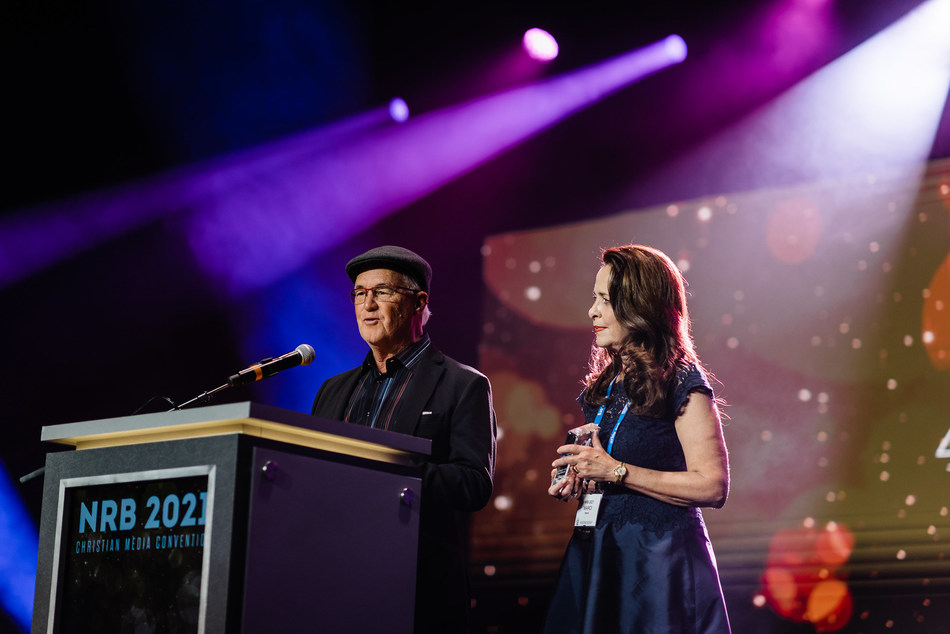 Rick Eldridge and Marci Henna accepting their awards for WHEN WE LAST SPOKE at the ICVM Awards.
