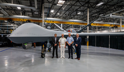 GA-ASI and the RNLAF commemorated the completion of the RNLAF's first MQ-9A Block 5 on July 7, 2021. From left to right: GA-ASI CEO Linden Blue, Vice Adm. Arie Jan De Waard, Lt. Gen. Dennis Luyt, and GA-ASI President David R. Alexander. (PRNewsfoto/General Atomics Aeronautical Systems, Inc.)
