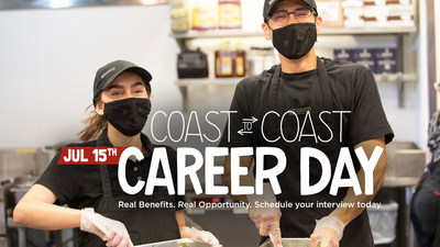 """Chipotle will host its second """"Coast To Coast Career Day"""" on July 15 with the goal of hiring an additional 15,000 employees to meet current demand and accommodate future growth."""