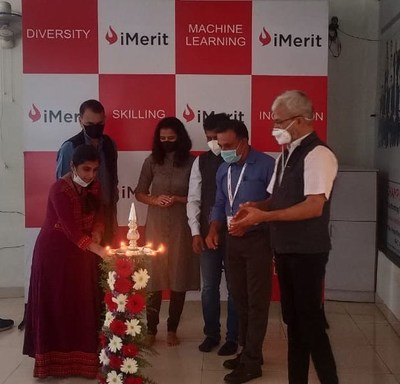 Leaders of iMerit Technology and Deshpande Foundation at the launch of iMerit's new Center of Excellence in Hubballi, Karnataka.