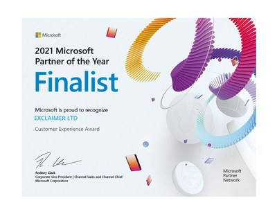 Exclaimer officially recognized as a Finalist of 2021 Microsoft Customer Experience Partner of the Year