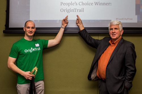 The CTO of Trace Labs, Branimir Rakic, and Dr. Metcalfe at the 2017 Food+City innovation competition in Austin