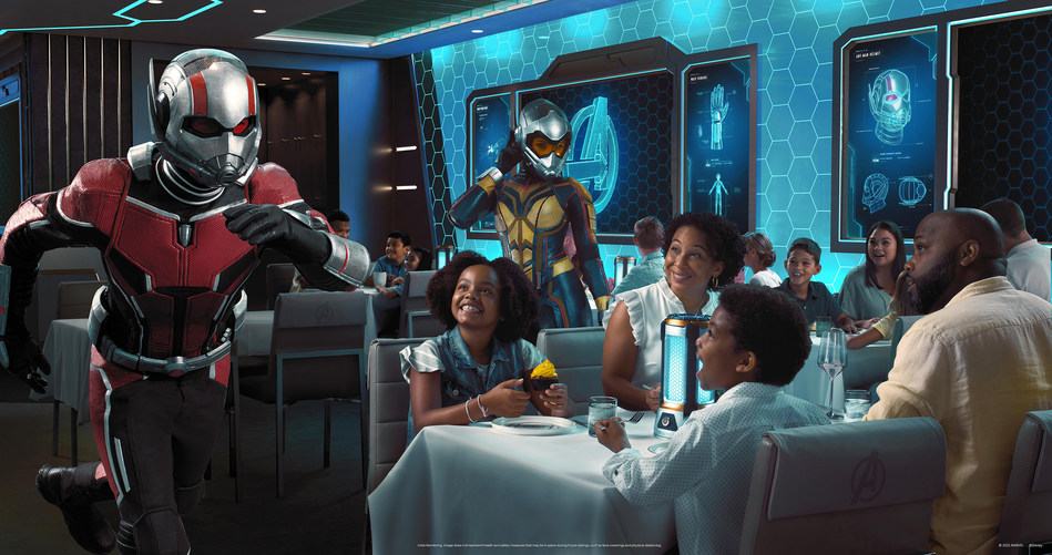 Disney Cruise Line is upping the  ant-e  on immersive family dining with the debut of  Avengers: Quantum Encounter  at Worlds of Marvel restaurant aboard the Disney Wish. Premiering in summer 2022, this all-new cinematic dining adventure will assemble some of Earth's Mightiest — and tiniest — Super Heroes in a larger-than-life showcase of revolutionary quantum technology and world-class cuisine. (July 2021)