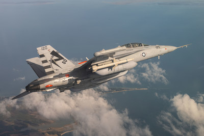 An EA-18G Growler from Air Test and Evaluation Squadron (VX) 23, located at Naval Air Station Patuxent River, Maryland, conducts a Next Generation Jammer Mid-Band (NGJ-MB) flight test over Southern Maryland recently. (U.S. Navy photo by Steve Wolff)