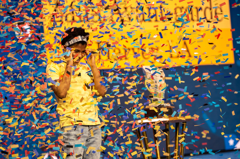 Zaila Avant-garde, a 14-year-old speller from New Orleans, is the champion of the 2021 Scripps National Spelling Bee. Credit: Heather Harvey / Scripps National Spelling Bee (Photo by Heather Harvey / Scripps / ESPN Images).