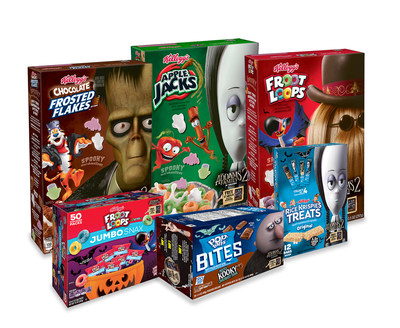 Embrace the kooky and spooky Halloween spirit at breakfast and snack time with limited-edition Kellogg's® Spooky Cereals, Kellogg's® Froot Loops® Jumbo Snax, Pop-Tarts® Frosted Spooky Chocolatey Fudge Bites and Rice Krispies Treats® Original Big Bars featuring your favorite Addams Family characters like It, Lurch, Wednesday and more.