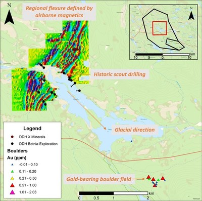 Figure 3. Historical drill holes located approximately 5km NW of the gold-bearing boulder field and within a major regional flexure clearly identifiable from airborne magnetic data. (CNW Group/Capella Minerals Limited)