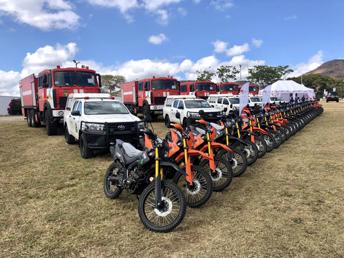 The firefighting vehicles delivered by AFTRADE DMCC at the ceremony in Mutare, Zimbabwe, on Saturday