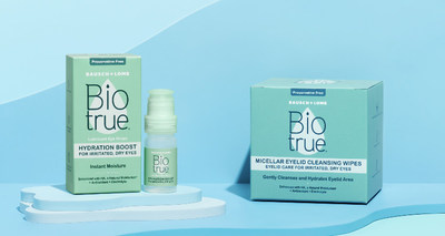 Biotrue® Hydration Lubricant Eye Drops and Biotrue® Micellar Eyelid Cleansing Wipes