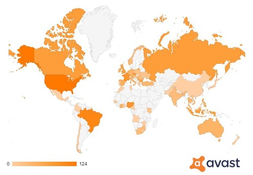 Graphic: Users visiting crypto-related phishing sites around the world, Avast detections January - June 2021, selection of 37 samples