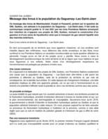Dossier GNL Québec - Message des Innus à la population du Saguenay-Lac-Saint-Jean