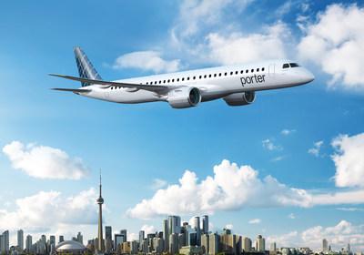 Porter Airlines étend son service primé à des destinations dans toute l'Amérique du Nord en introduisant dans sa flotte jusqu'à 80 avions Embraer E195-E2 à la fine pointe de la technologie et économe en carburant. (Groupe CNW/Porter Airlines)