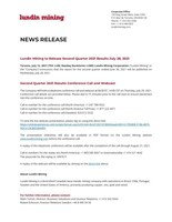 Lundin Mining to Release Second Quarter 2021 Results July 28, 2021 (CNW Group/Lundin Mining Corporation)