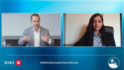 Le chef de la direction de BMO, Darryl White, et la stagiaire d'été Vrushti Trivedi participent à une discussion virtuelle lors de la conférence de leadership pour les étudiants de la Banque. (Groupe CNW/BMO Groupe Financier)