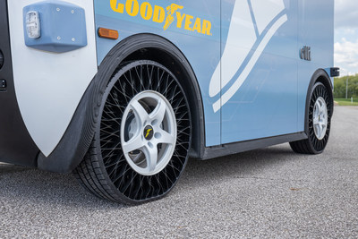 Goodyear non-pneumatic tires on a Local Motors Olli shuttle.