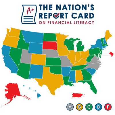 """The 2021 analysis found that two-thirds of states (35 states including Puerto Rico and Washington D.C.) earned grades of """"C"""" or less for financial literacy instruction, with just 17 states earning grades of """"A"""" or """"B."""""""