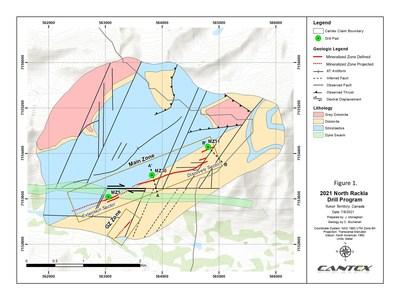 Figure 1. 2021 North Rackla Drill Program (CNW Group/Cantex Mine Development Corp.)