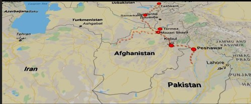 Route from Uzbekistan through Afghanistan of new power line and transport corridor