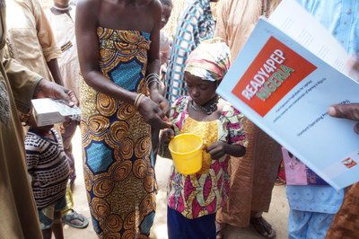 Child receiving SDR-PEP, a preventive treatment for leprosy, in Nigeria