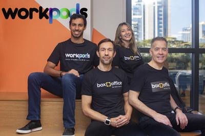 Da esquerda para direita: Joseph Nigri, CEO da Tecnisa; Cesar M. Concone, COO e cofundador da Box Office; Roberta Carvalho de Souza, CEO e cofundadora da Box Office; e Christian Hunt, conselheiro da Box Office. Créditos: Divulgação