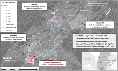 2021 Summer Exploration Program at the Frotet Project, Quebec (CNW Group/Kenorland Minerals Ltd.)