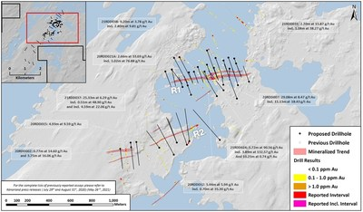 Plan Map of Proposed Drilling along R1 and R2 Structures (CNW Group/Kenorland Minerals Ltd.)