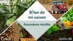 La Financière agricole du Québec publie le bilan de mi-saison en assurance récolte pour 2021