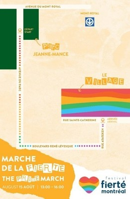 Itinerary of the 2021 Montreal Pride March (CNW Group/Montréal Pride Celebrations)
