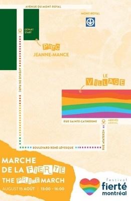 Itinéraire de la Marche de la Fierté 2021 (Groupe CNW/Célébrations de la Fierté Montréal)