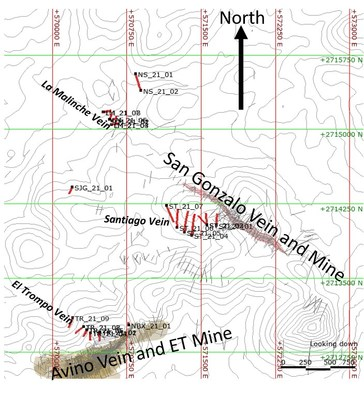 Figure 1. 2021 Drilling and vein Locations (Topography contours at 20m intervals) (CNW Group/Avino Silver & Gold Mines Ltd.)