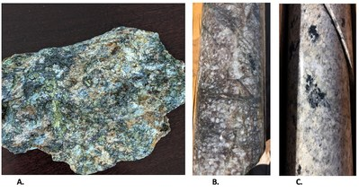 Fig 3 Photographs. A. Dump material with chalcopyrite near Georgine Pit and historic adit, B. Diorite porphyry with secondary biotite-magnetite alteration in veinlets, C. quartz-tourmaline-pyrite in bleached silicified diorite porphyry.