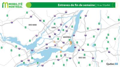 Carte générale des entraves, fin de semaine du 16 juillet (Groupe CNW/Ministère des Transports)