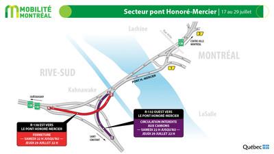 Secteur pont Honoré-Mercier, du 17 au 29 juillet (Groupe CNW/Ministère des Transports)