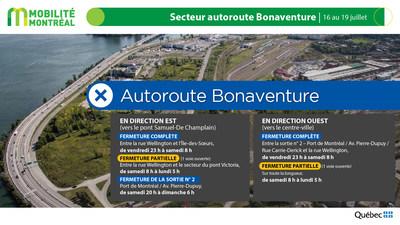 Secteur autoroute Bonaventure, fin de semaine du 16 juillet (Groupe CNW/Ministère des Transports)